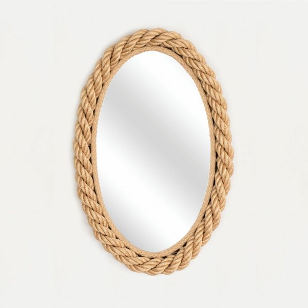 French Rope Oval Mirror by Audoux-Minet