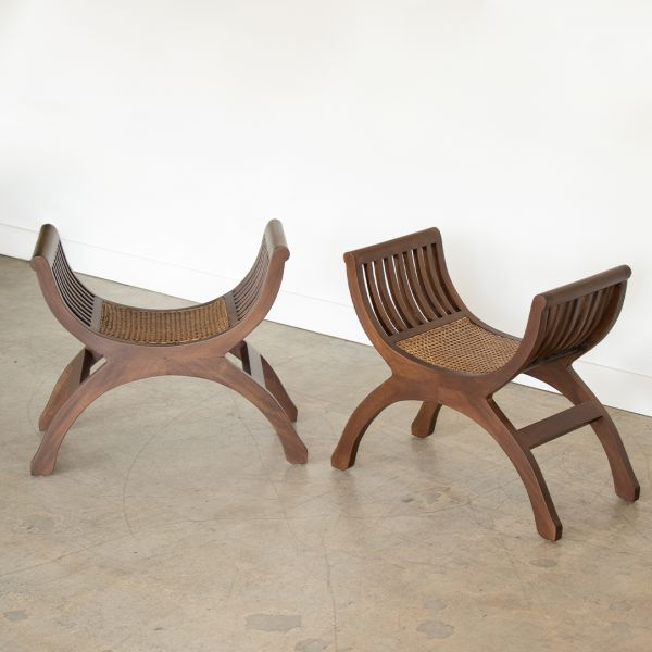 Pair of French Wood and Cane Stools